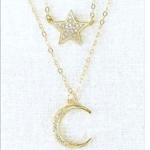 Jewelry - MOON + STAR Double Strand Gold Necklace - LOWEST!